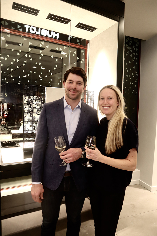 Newlyweds Michael Olenick and Melissa Marcus at the new Hublot boutique in Aspen.
