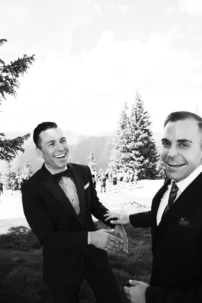 Handsome gents Brett Kennedy and Massimo Alpin at their September 2014 Aspen Mountain wedding.