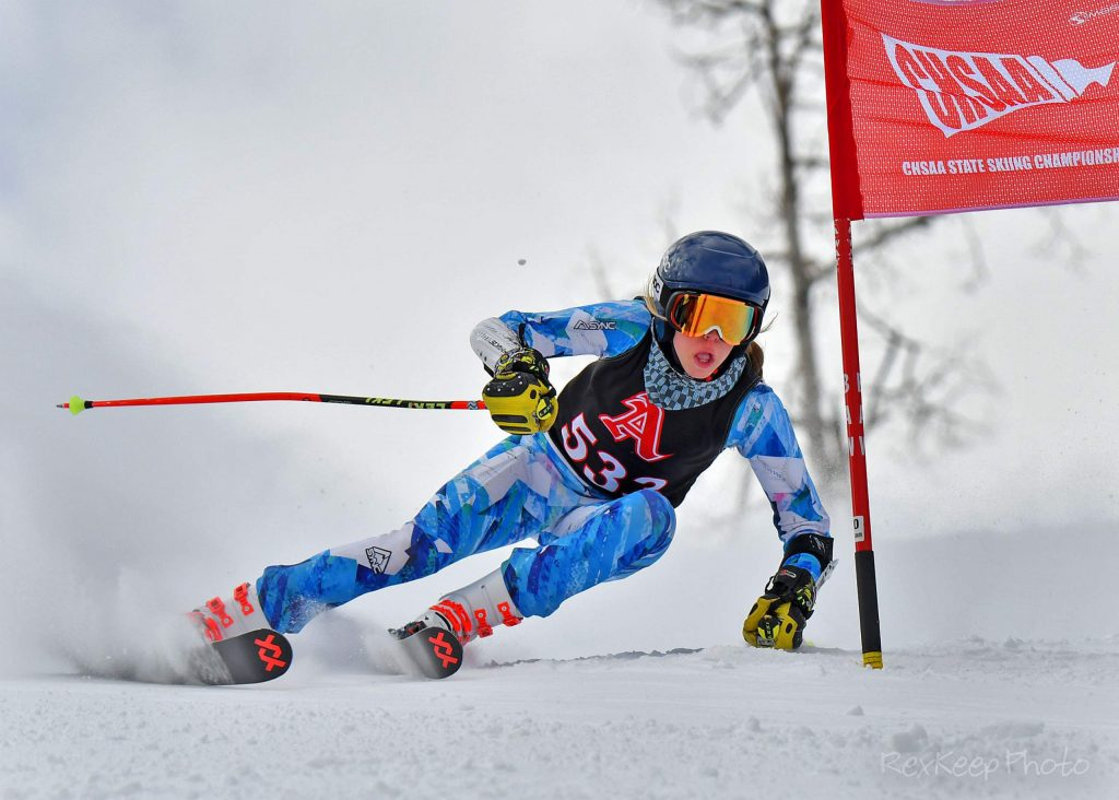 Aspen's Lauren Haerter competes in the girls giant slalom at the state skiing championships on Thursday, Feb. 27, 2020, at Beaver Creek. (Photo by Rex Keep Photography)