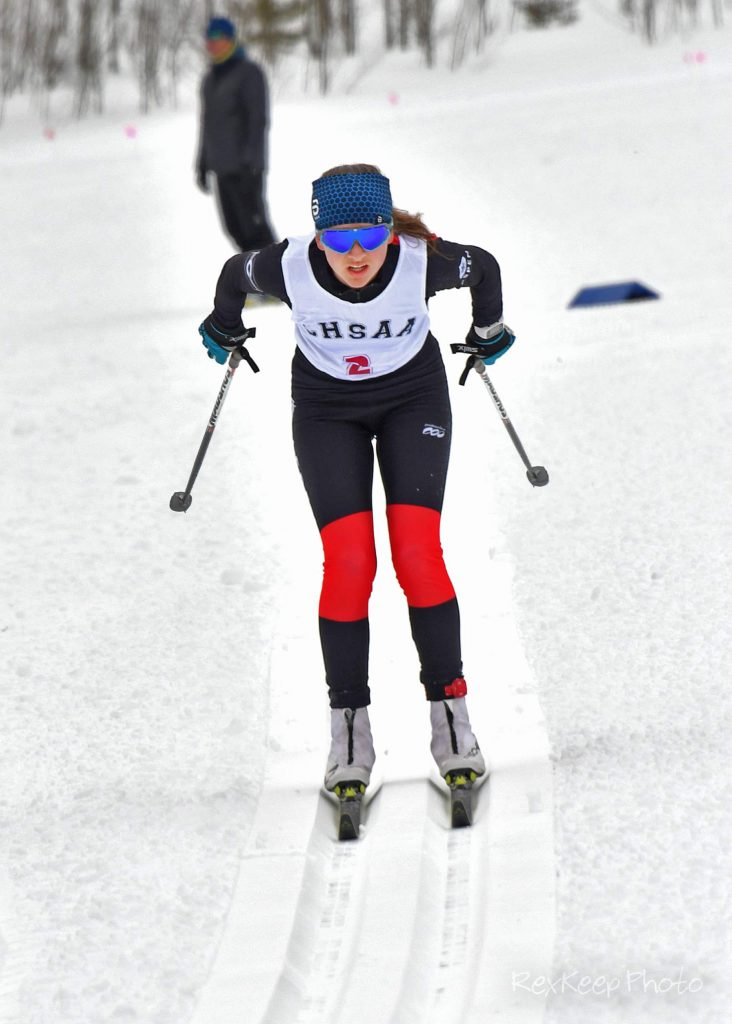 Aspen's Elsie Weiss competes in the nordic classic race at the state skiing championships on Thursday, Feb. 27, 2020, at Maloit Park in Minturn. (Photo by Rex Keep Photography)