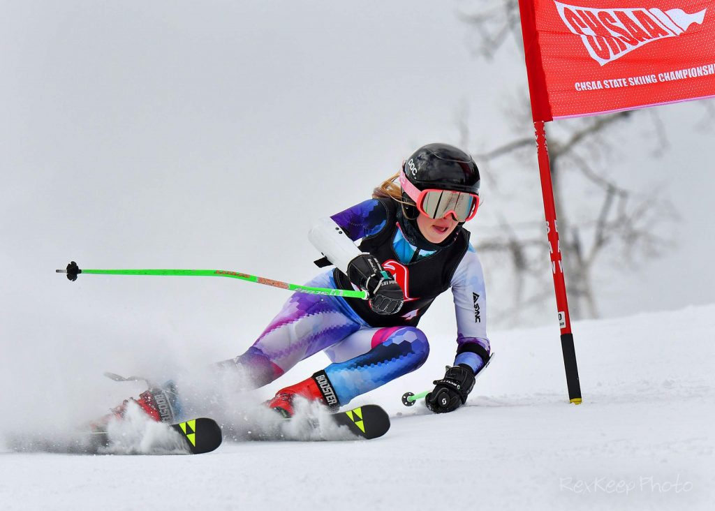 An Aspen skier competes in giant slalom at the state skiing championships on Thursday, Feb. 27, 2020, at Beaver Creek. (Photo by Rex Keep Photography)