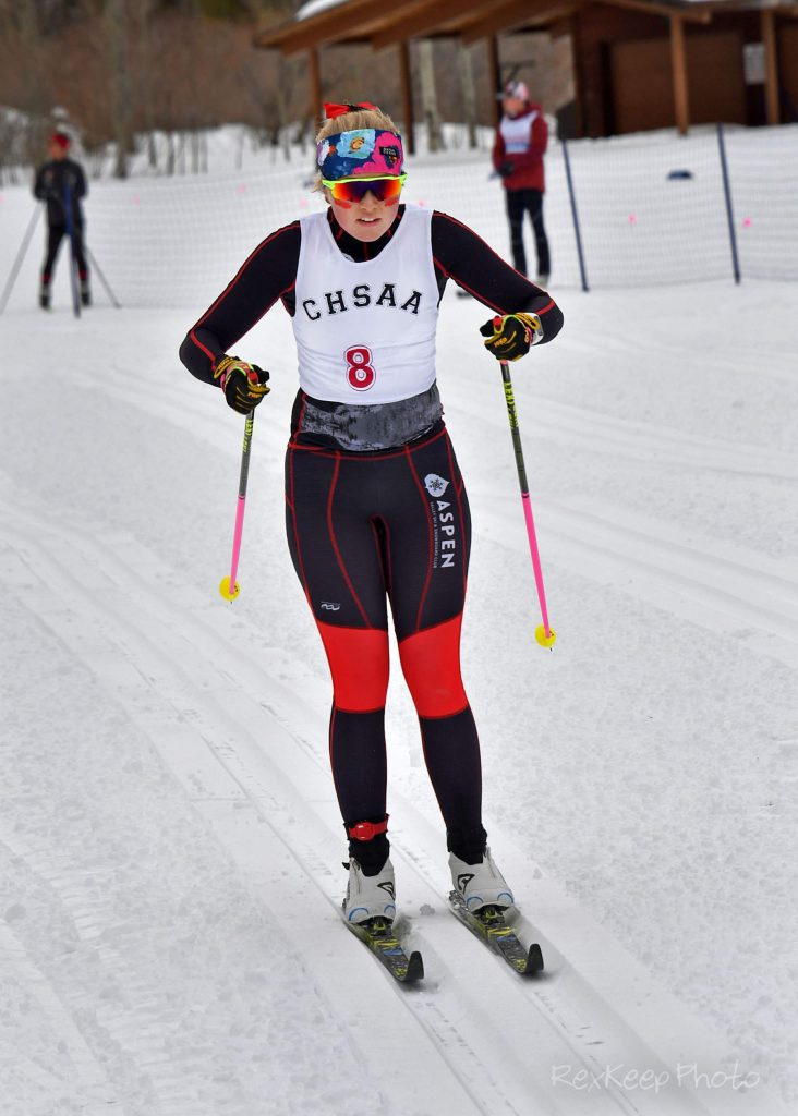 Aspen's Eva McDonough competes in the nordic classic race at the state skiing championships on Thursday, Feb. 27, 2020, at Maloit Park in Minturn. (Photo by Rex Keep Photography)