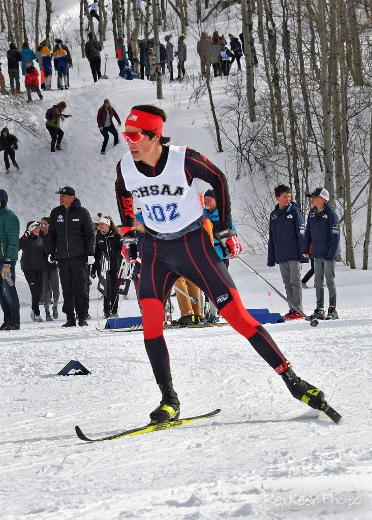 Aspen's Taiga Moore competes in the nordic classic race at the state skiing championships on Thursday, Feb. 27, 2020, at Maloit Park in Minturn. (Photo by Rex Keep Photography)