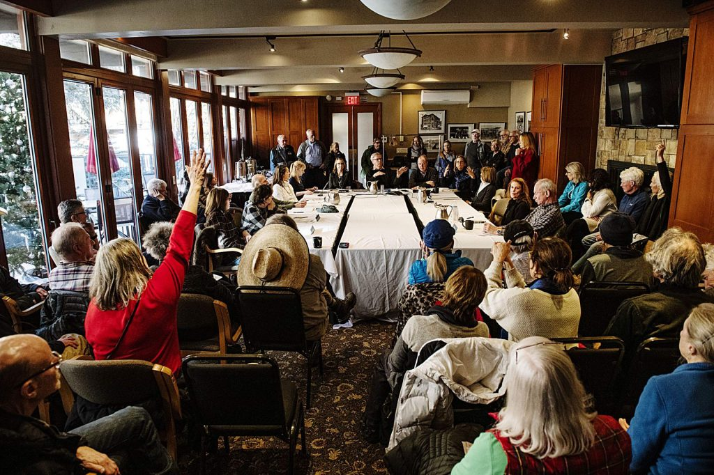 The conference room at the Aspen Square Condominiums Hotel was filled with concerned members of the public to address the Aspen Public Radio board of directors on Thursday, Feb. 20, 2020. (Kelsey Brunner/The Aspen Times)