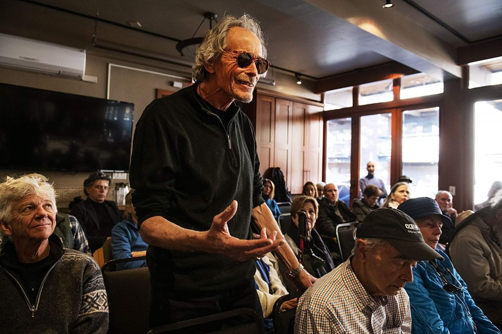 Dan Sadowsky addresses the Aspen Public Radio board of directors with his opinions about the recent decision to eliminate music during a meeting at the Aspen Square Condominiums Hotel on Thursday, Feb. 20, 2020. (Kelsey Brunner/The Aspen Times)
