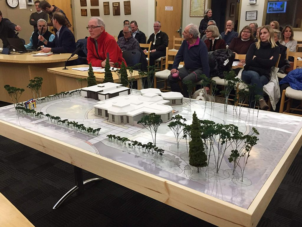 A model of a new Center for Herbert Bayer Studies at the Aspen Institute next to the Boettcher Seminar Building was displayed in Aspen City Council chambers as the public looks on during a public hearing on Tuesday night.
