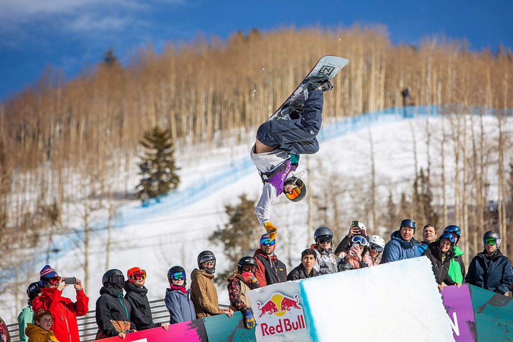 Swiss snowboarder Jan Scherrer gets air in the mini-pipe at the Burton US Open Snowboarding Championships on Saturday in Vail. Scherrer finished second.