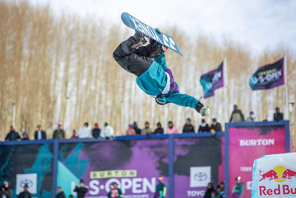 Yuto Totsuka performs a McTwist en route to his first place finish Saturday at the Burton US Open Snowboarding Championships in Vail. It was Totsuka's first-ever win at snowboarding's longest running competition.