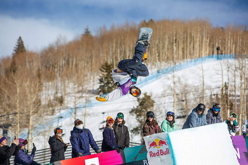 Eagle resident Jake Pates excites the hometown crowd with a buttery manuver during the Burton US Open Snowboarding Championships on Saturday. Pates finished sixth in the modified halfpipe competition.
