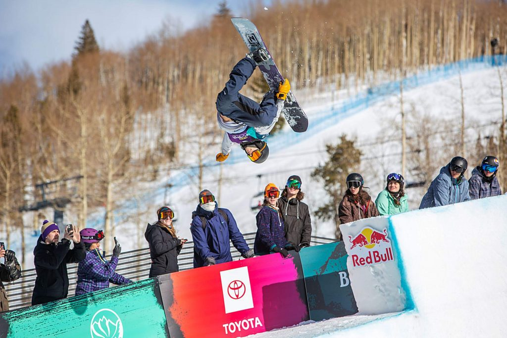 Jan Scherrer pops off the moddified portion of the halfpipe. Scherrer finished 2rd in the Men's Halfpipe competition