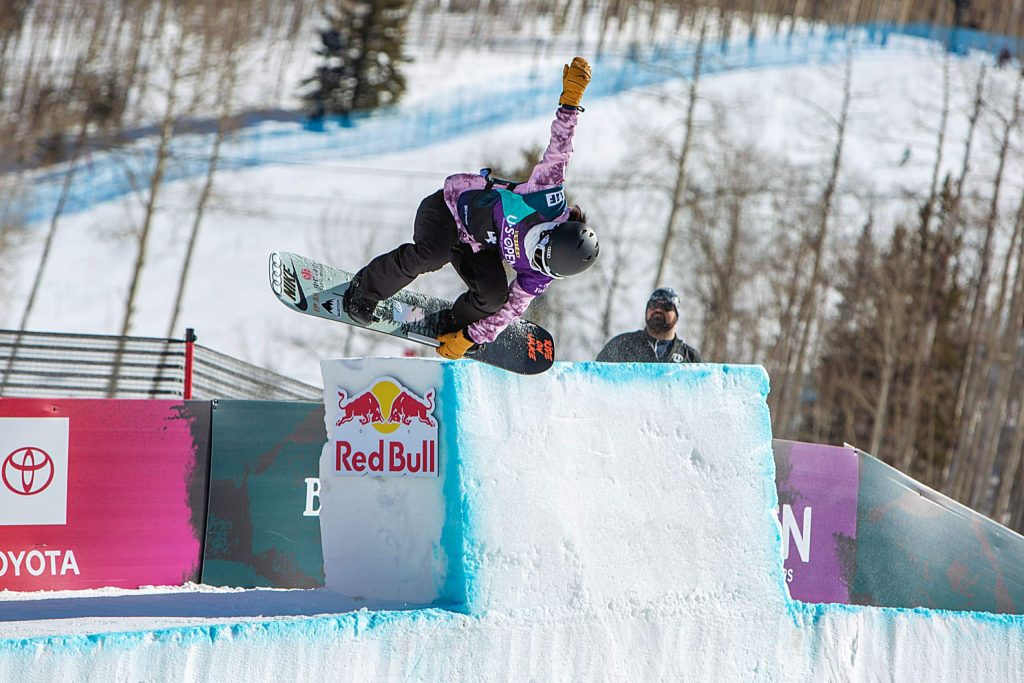 Xuetong Cai hits the tombstone at the top of the modified halfpipe in the Burton US Open Halfpipe Finals.