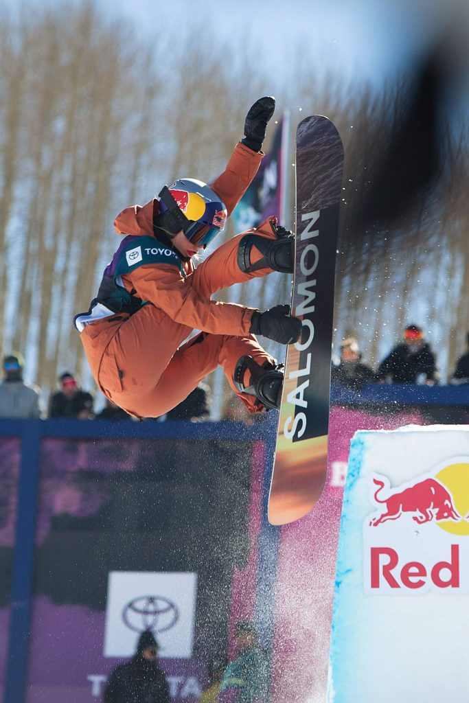 Maddie Mastro hits the tombstone in the Halfpipe Finals. Mastro, returning winner from 2019, did not place.