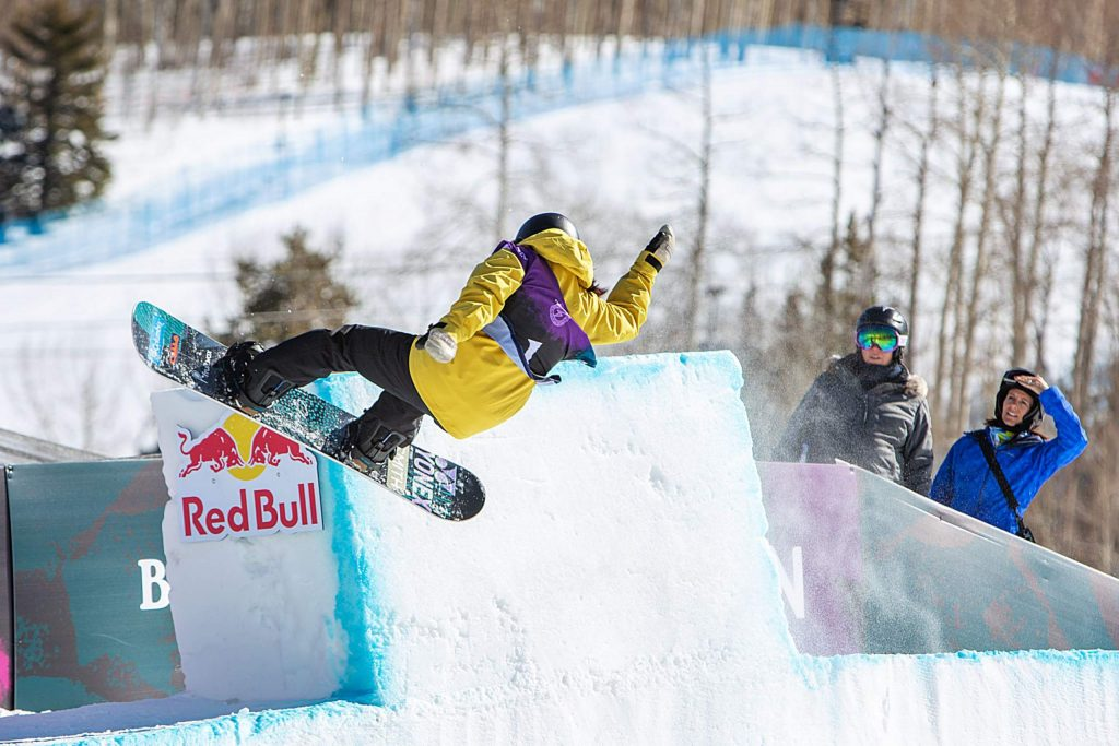 Ruki Tomita slides off the tombstone at the top of the modified halfpipe and placed 3rd in the Women's Halfpipe Final.
