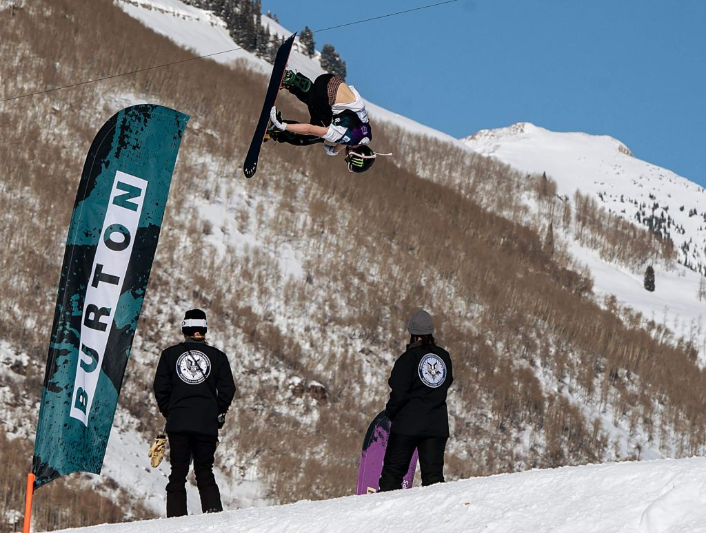 Dusty Henricksen hits a jump on the Slopestyle course at the Burton US Open Snowboarding Championships on Friday. Henricksen finished second.