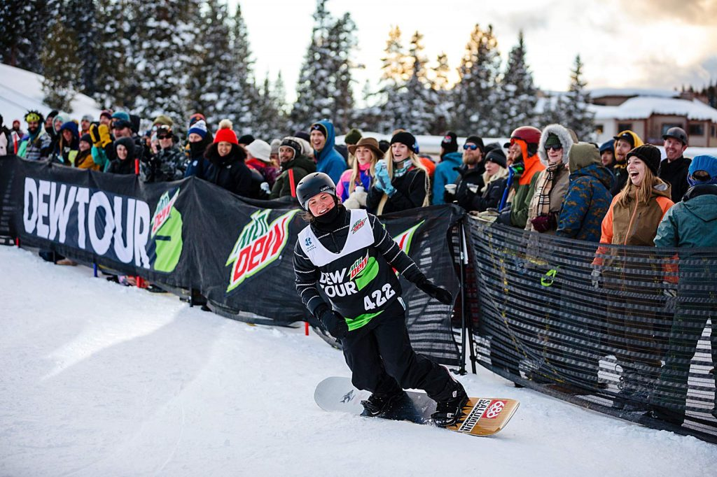 Emma Crosby plays to the crowd as she takes bronze in the women's snowboard streetstyle competition on Saturday, Feb. 8, day three of the Winter Dew Tour at Copper Mountain.