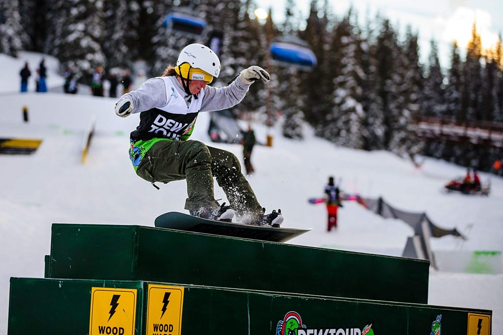 Nora Beck hits the electrical box in the women's snowboard streetstyle competition on Saturday, Feb. 8, day three of the Winter Dew Tour at Copper Mountain.