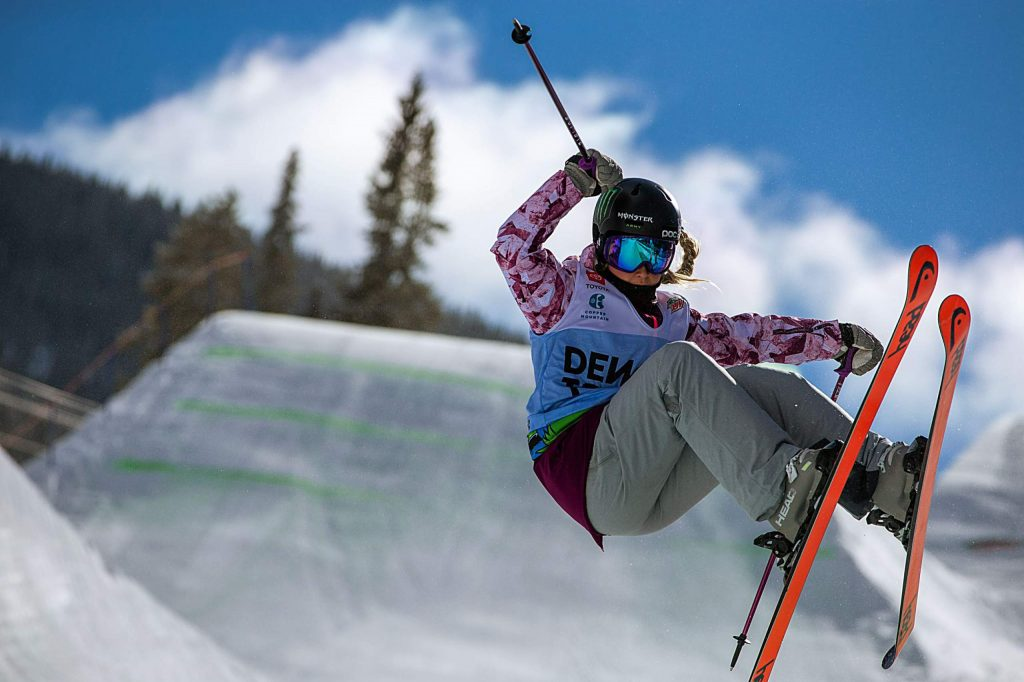 Abigale Hansen hits the superpipe for practice on Wednesday, Feb. 5, 2020, before the Dew Tour at Copper Mountain, Colo. (Liz Copan/Summit Daily News via AP)