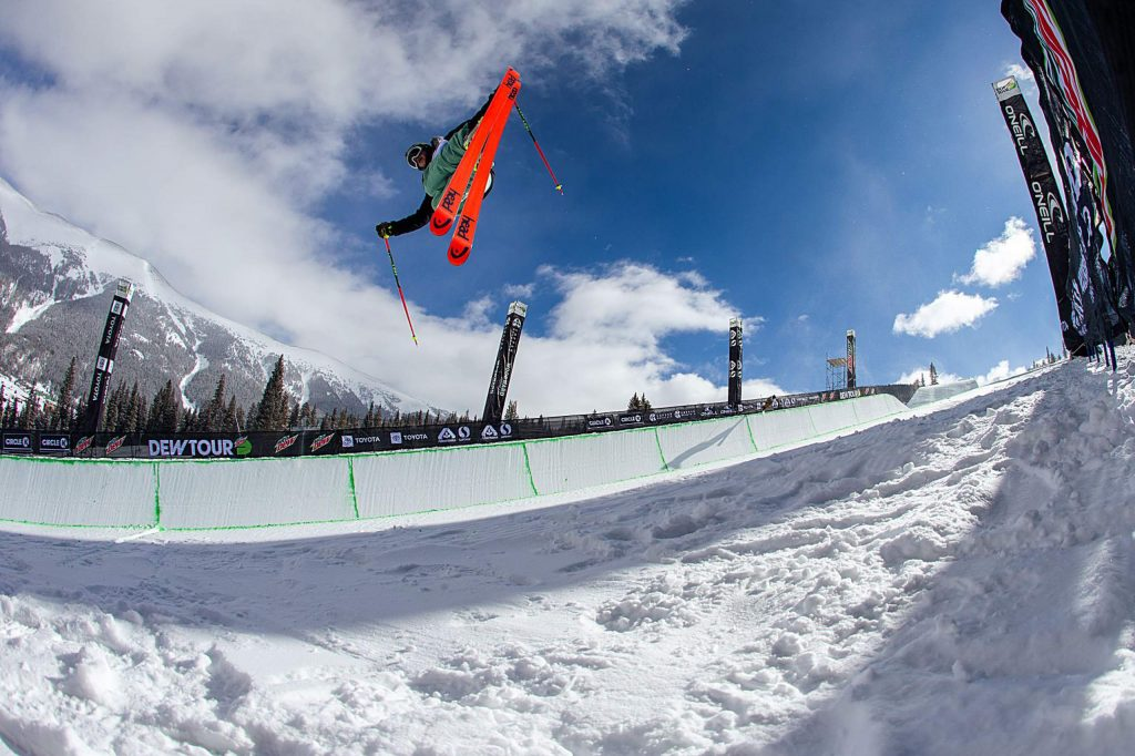 Crested Butte's Aaron Blunck takes advantage of a practice day on Wednesday, Feb. 5, 2020, before Winter Dew Tour Feb. 6th-9th at Copper Mountain, Colo. (Liz Copan/Summit Daily News via AP)