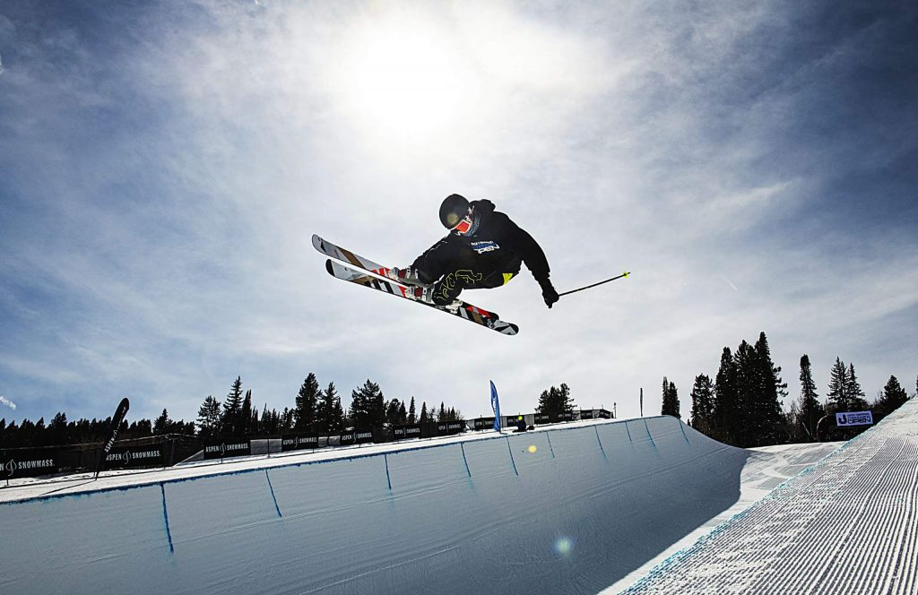 Aspen local freeskier Tristan Feinberg competes in the men's superpipe qualifiers during the Aspen Snowmass Freeskiing Open at Buttermilk on Saturday, Feb. 15, 2020. Feinberg finished second in the finals. (Kelsey Brunner/The Aspen Times)