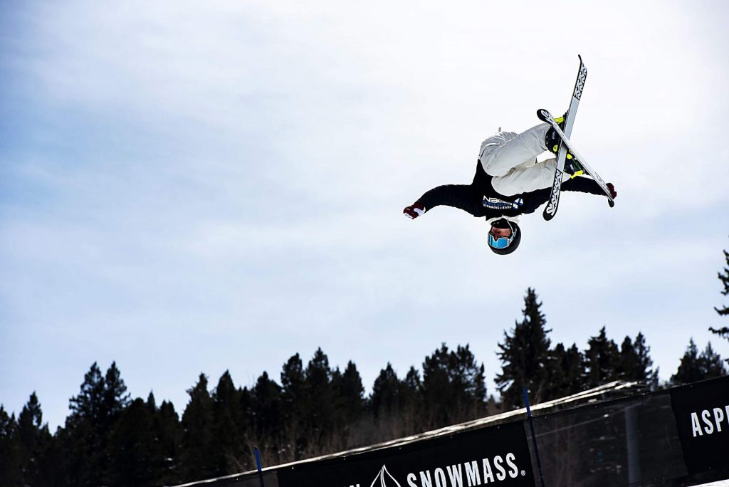 Nathan Bourgoin competes in the men's superpipe qualifiers during the Aspen Snowmass Freeskiing Open at Buttermilk on Saturday, Feb. 15, 2020. (Kelsey Brunner/The Aspen Times)