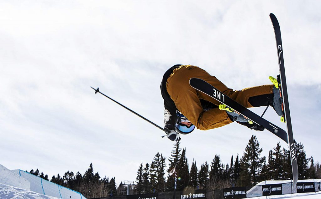 Hanna Faulhaber, 15, throws a trick on her last run of the women's superpipe finals during the Aspen Snowmass Freeskiing Open at Buttermilk on Saturday, Feb. 15, 2020. (Kelsey Brunner/The Aspen Times)