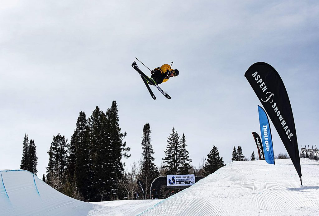 Peter Verheyde competes in the men's superpipe qualifiers during the Aspen Snowmass Freeskiing Open at Buttermilk on Saturday, Feb. 15, 2020. (Kelsey Brunner/The Aspen Times)