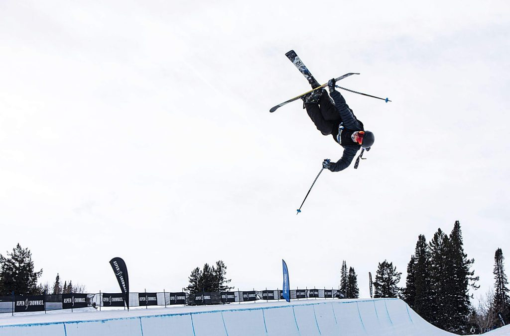 Ben Harrington competes in the men's superpipe qualifiers during the Aspen Snowmass Freeskiing Open at Buttermilk on Saturday, Feb. 15, 2020. (Kelsey Brunner/The Aspen Times)