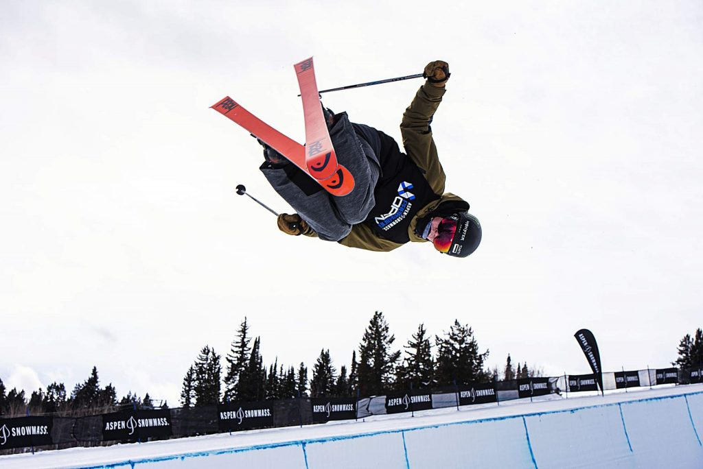 Connor Ladd competes in the men's superpipe qualifiers during the Aspen Snowmass Freeskiing Open at Buttermilk on Saturday, Feb. 15, 2020. (Kelsey Brunner/The Aspen Times)