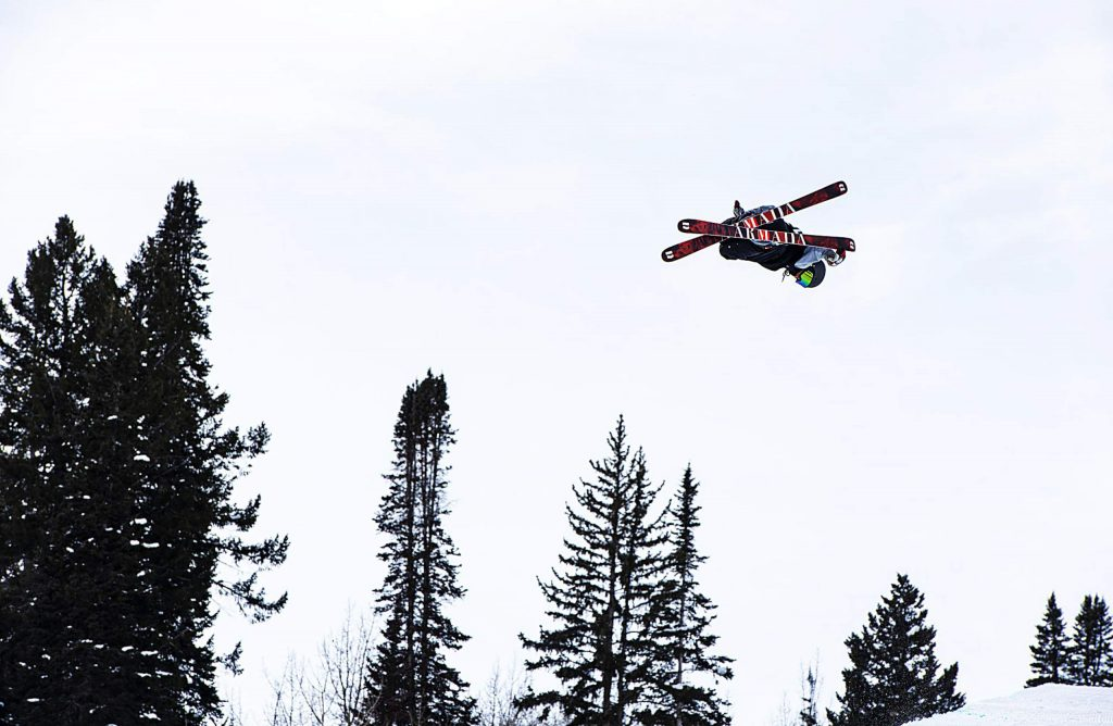 Jon Sallinen competes in the men's superpipe qualifiers during the Aspen Snowmass Freeskiing Open at Buttermilk on Saturday, Feb. 15, 2020. (Kelsey Brunner/The Aspen Times)