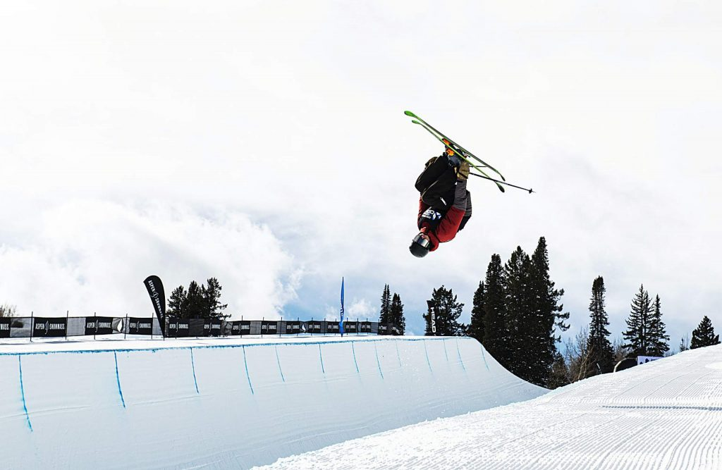 Jack Ganley competes in the men's superpipe qualifiers during the Aspen Snowmass Freeskiing Open at Buttermilk on Saturday, Feb. 15, 2020. (Kelsey Brunner/The Aspen Times)