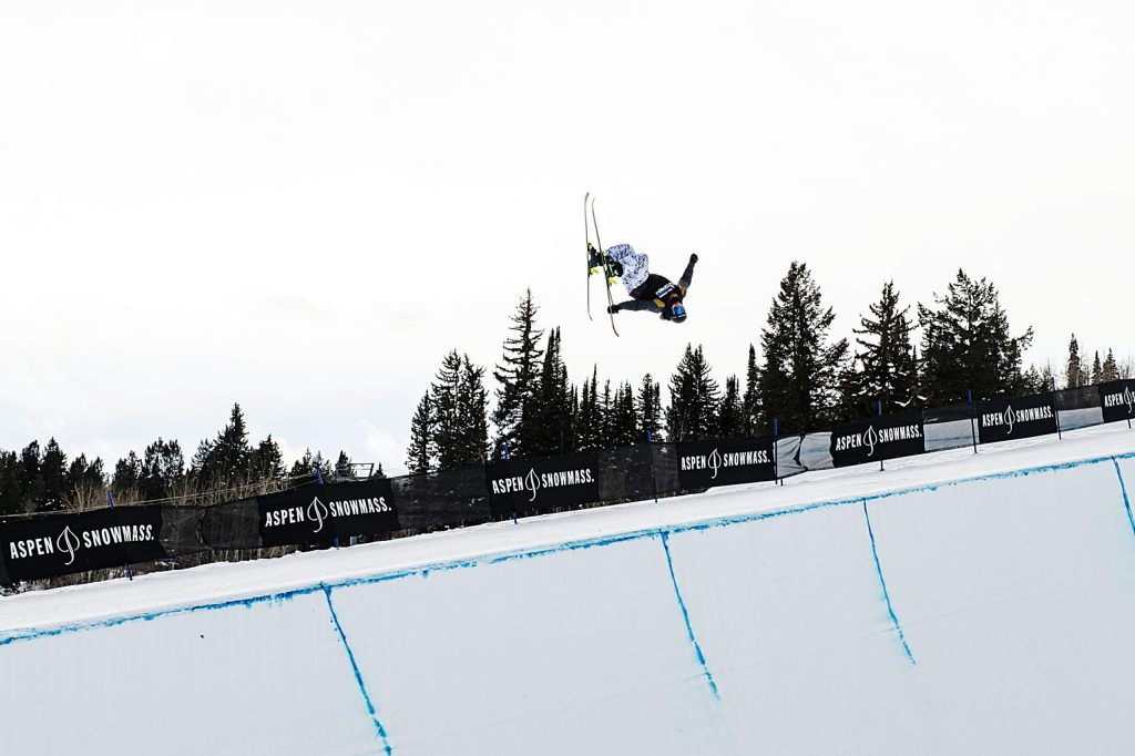 Dylan Ladd competes in the men's superpipe qualifiers during the Aspen Snowmass Freeskiing Open at Buttermilk on Saturday, Feb. 15, 2020. (Kelsey Brunner/The Aspen Times)