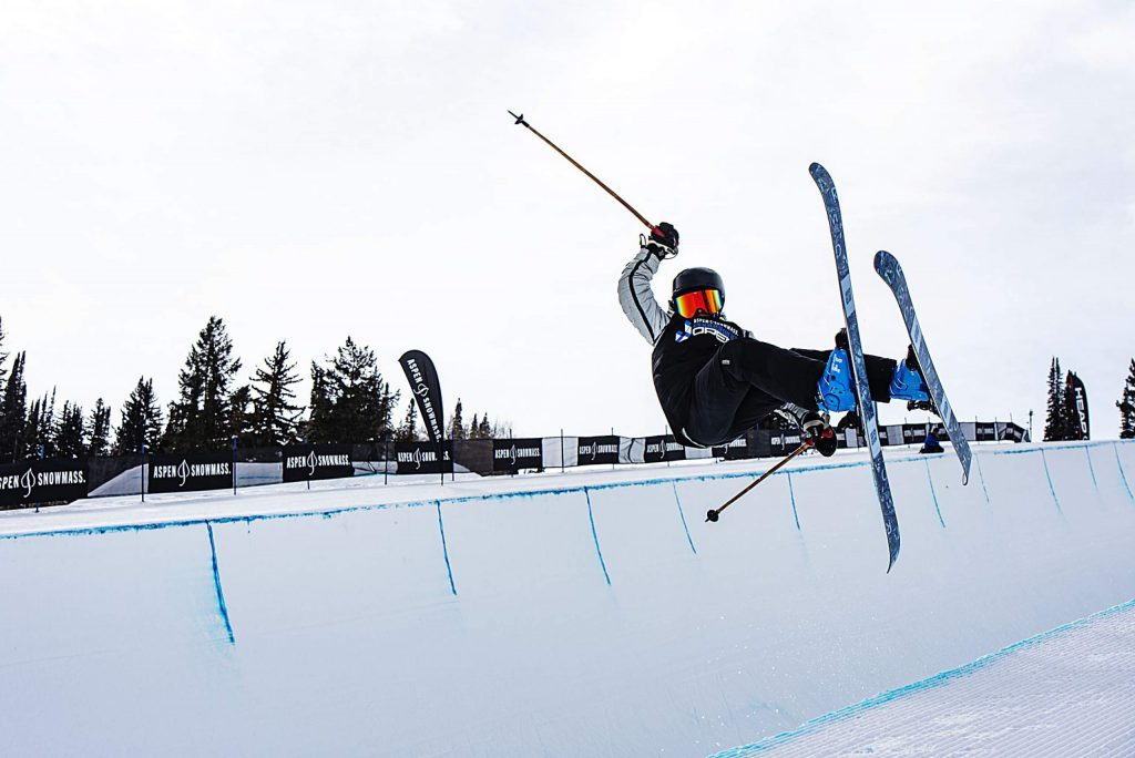 Cael McCarthy competes in the men's superpipe qualifiers during the Aspen Snowmass Freeskiing Open at Buttermilk on Saturday, Feb. 15, 2020. (Kelsey Brunner/The Aspen Times)