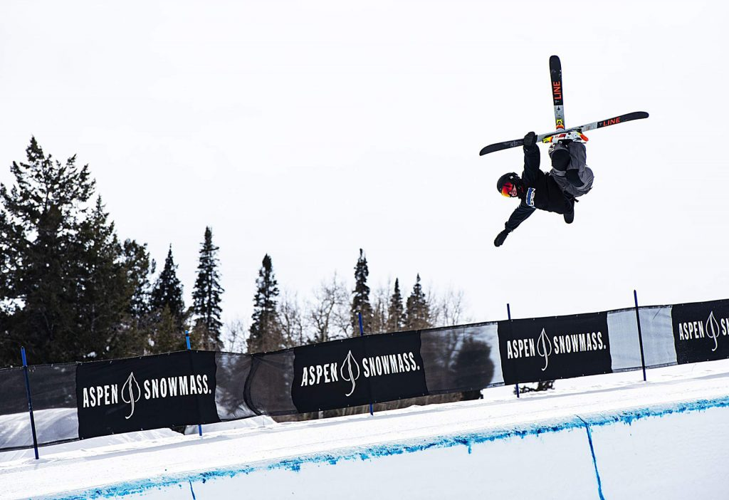 Reagan Wallis competes in the men's superpipe qualifiers during the Aspen Snowmass Freeskiing Open at Buttermilk on Saturday, Feb. 15, 2020. (Kelsey Brunner/The Aspen Times)