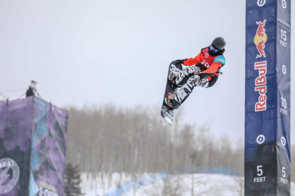 Fynn Bullock-Womble does a tail grab during the Junior Jam, which kicked off the Burton US Opencompetition on Tuesday in Vail. Bullock-Womble took first and will have a spot in the men's semifinals on Thursday.