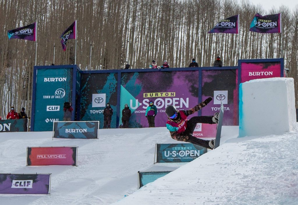 Olivia Lisle, of Edwards, begins her second run during the Junior Jam on Tuesday. Lisle was one of five riders from Ski & Snowboard Club Vail competing.