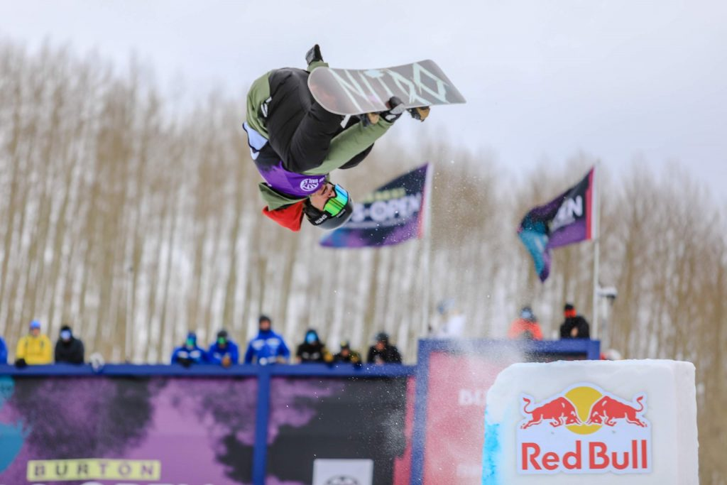 Rakai Tait gets inverted off the tombstone feature during the men's halfpipe semifinals at the Burton US Open Snowboarding Championships Thursday in Vail. Tait is a 2017 graduate of Vail Mountain School who now lives in New Zealand.