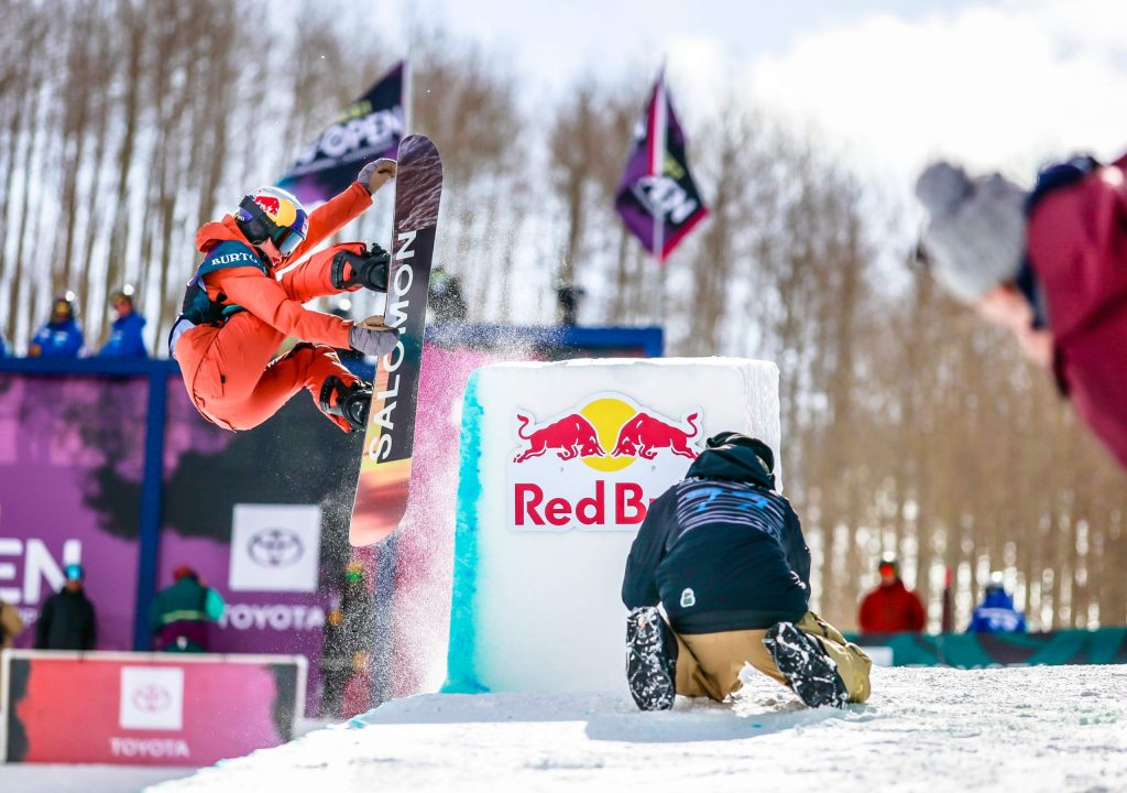 Maddie Mastro performs a grab after tapping the tombstone feature on the modified halfpipe for the Burton US Open Thursday in Vail. Mastro qualified in second position.