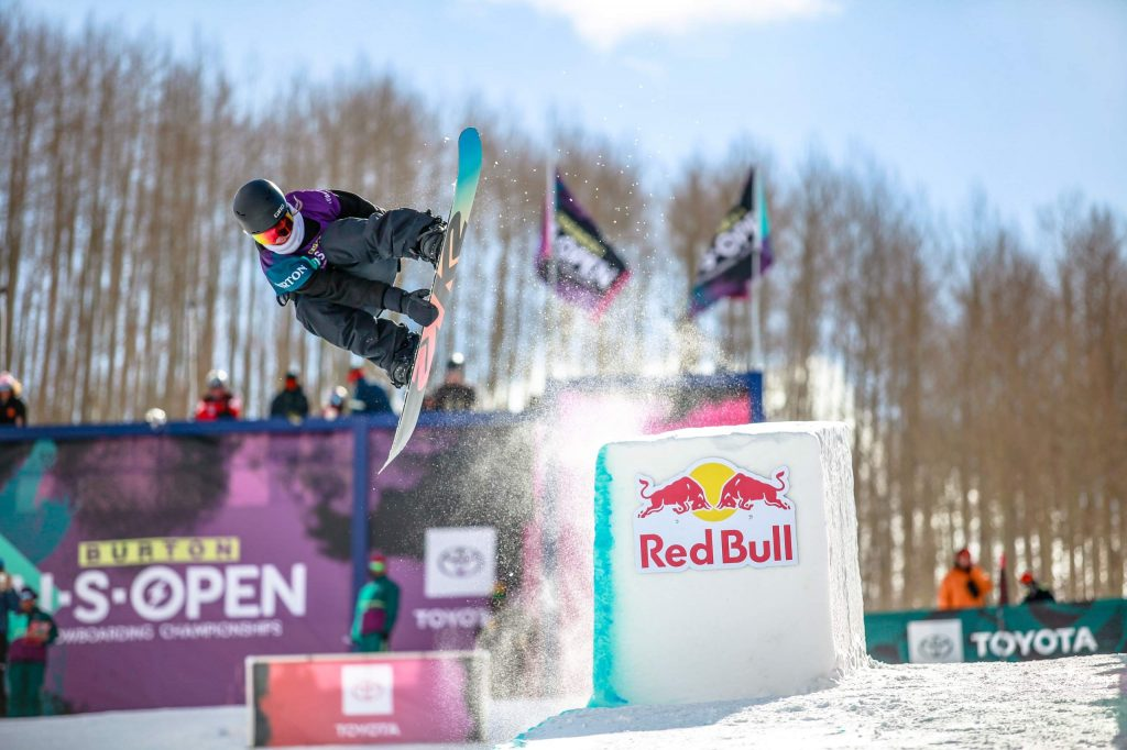 Zoe Kalapos of Avon performs a grab in the modified superpipe at the Burton US Open snowboarding championships Thursday in Vail. Kalapos was edged out of the finals.