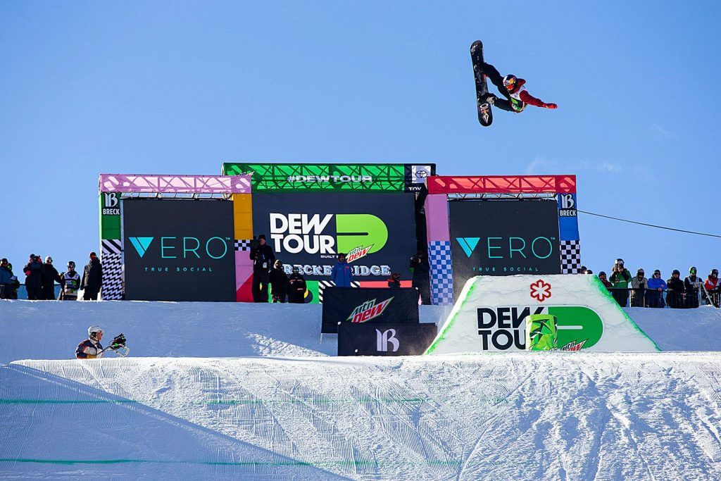 Scotty James of Australia spots his landing transitioning into the modified superpipe at Dew Tour in December 2018 at Breckenridge Ski Resort.