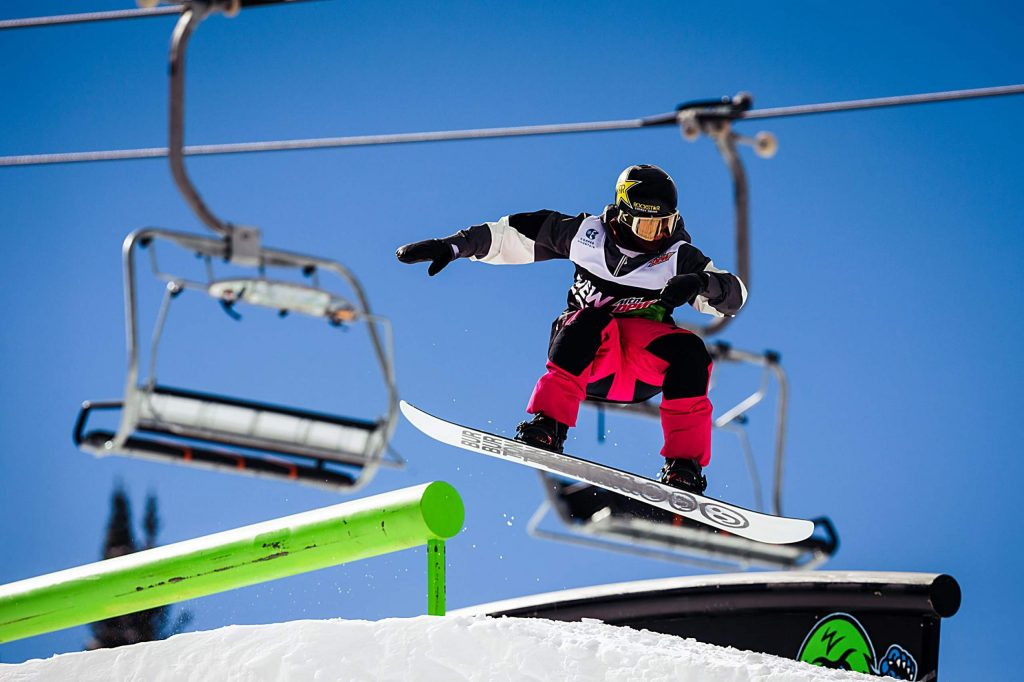 Mikey Ciccarelli competes in the men's snowboard slopestyle final on Saturday, Feb. 8, day three of the Winter Dew Tour at Copper Mountain.