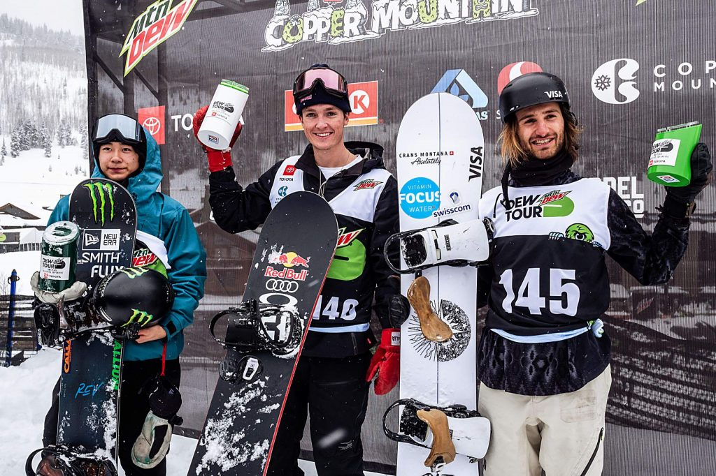 The podium of the men's snowboard modified superpipe final, from left to right, Yuto Totsuka of Japan in second, Scotty James of Australia in first, and Pat Burgener of Switzerland in third on day four of the Winter Dew Tour at Copper Mountain on Sunday, Feb. 9.