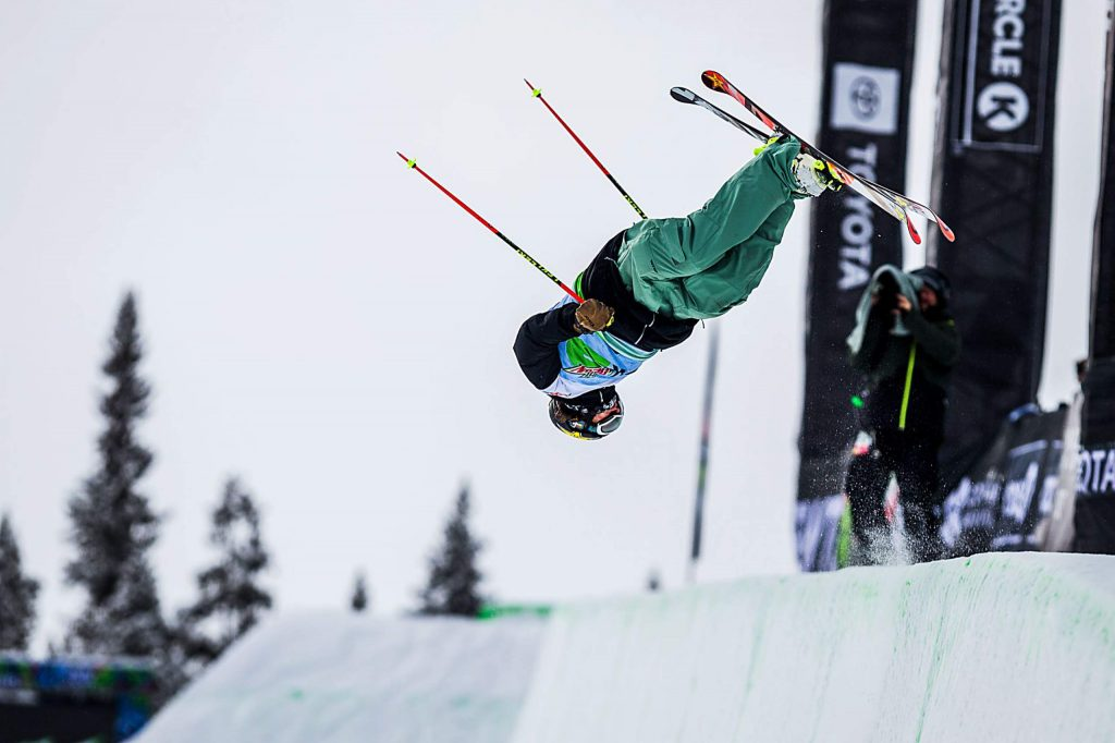 Aaron Blunck of Crested Butte competes in the men's ski modified superpipe final on Sunday, Feb. 9, day four of the Winter Dew Tour at Copper Mountain.