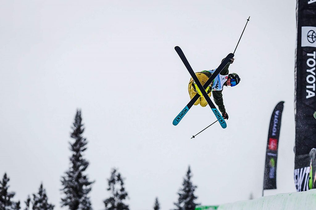 David Wise of Nevada competes in the men's ski modified superpipe final on Sunday, Feb. 9, day four of the Winter Dew Tour at Copper Mountain.