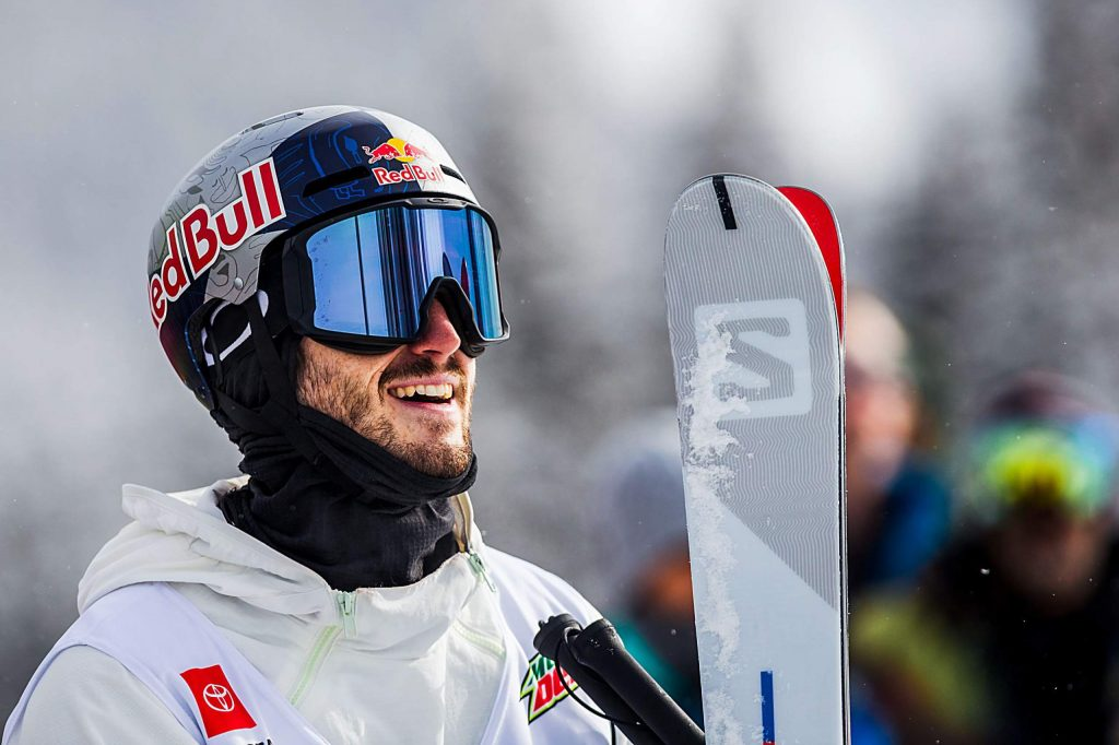 Noah Bowman of Canada smiles after placing first in the men's ski modified superpipe final on Sunday, Feb. 9, day four of the Winter Dew Tour at Copper Mountain.
