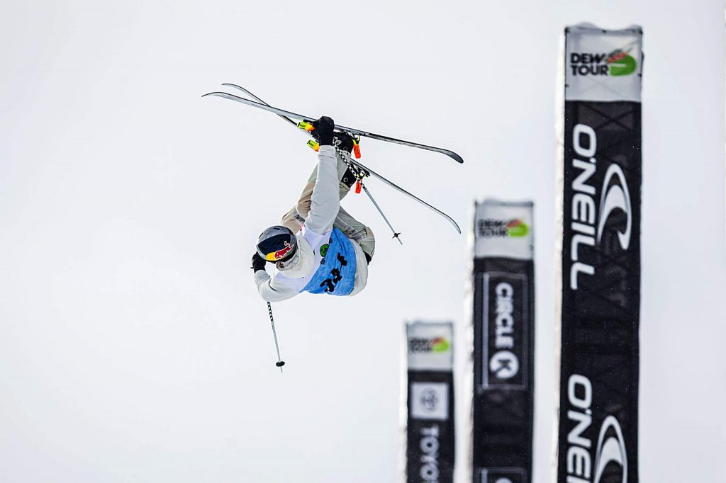 Noah Bowman of Canada inverts high above the pipe during his first-place run in the men's ski modified superpipe final on Sunday, Feb. 9, day four of the Winter Dew Tour at Copper Mountain.