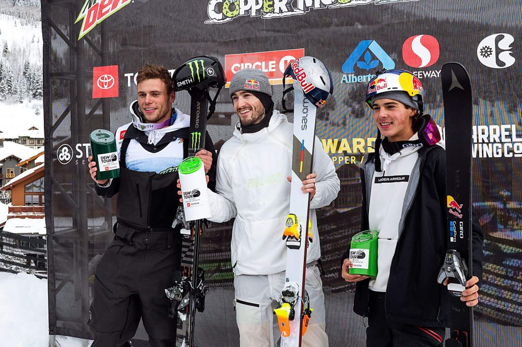 The podium for the men's ski modified superpipe features from left to right, Gus Kenworthy in second place, Noah Bowman with first, and Nico Poretous taking third on Sunday, Feb. 9, day four of the Winter Dew Tour at Copper Mountain.