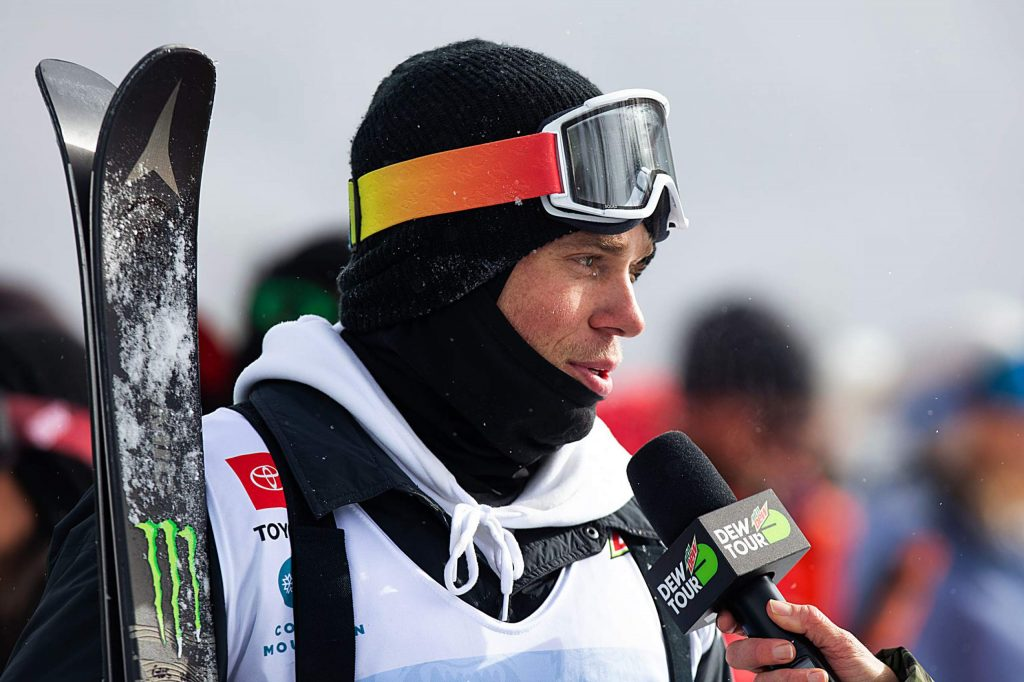 Gus Kenworthy of Telluride reacts to his score in the men's modified ski superpipe final at Copper Mountain's Winter Dew Tour on Sunday, Feb. 9.