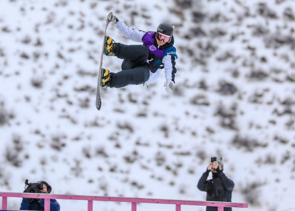 California snowboarder Dusty Henricksen catches air off a rail section during the mens slopestyle semifinals for the Burton US Open Wednesday in Vail. Henricksen, 17, qualified in first position for Friday's finals.