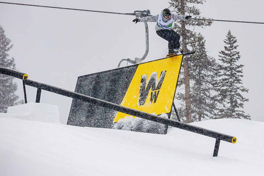 Norway's Stale Sandbech competes for Team Oakley in the snowboard team challenge slopestyle on Thursday on day one of Winter Dew Tour at Copper Mountain. Sandbech led the competition with a score of 95.00.