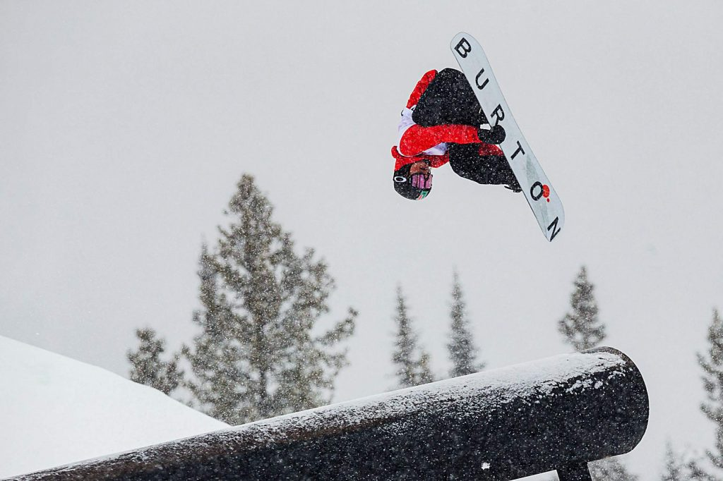 Red Gerard competes for Team Burton in the slopestyle snowboard team challenge on Thursday on day one of Winter Dew Tour at Copper Mountain.